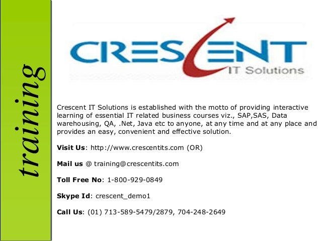 training           Crescent IT Solutions is established with the motto of providing interactive           learning of esse...