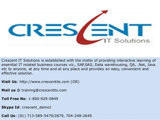 Crescent IT Solutions is established with the motto of providing interactive learning ofessential IT related business cour...