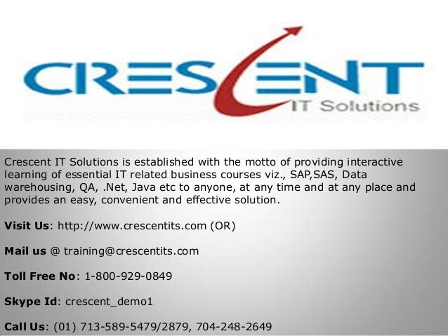 Crescent IT Solutions is established with the motto of providing interactivelearning of essential IT related business cour...