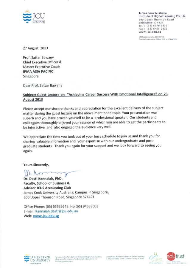 Testimonial for cee prof sattar bawany from james cook university (jcu) 27 august 2013