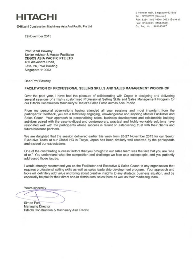 Testimonial for facilitation of Hitachi Sales and Sales Management Workshop 29 Nov 2013