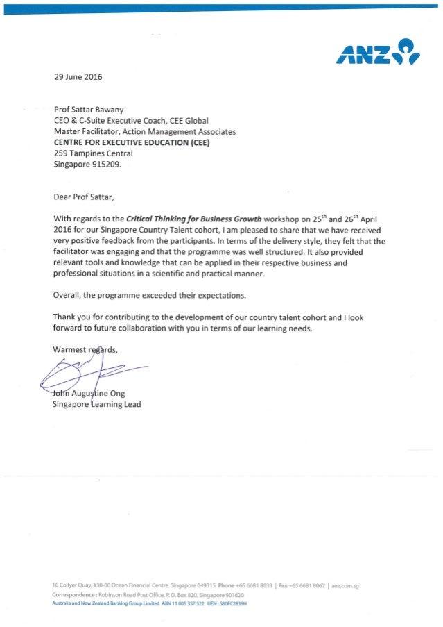 Testimonial from ANZ on CTBG for CEE - AMAI Prof Sattar Bawany - 29 June 2016