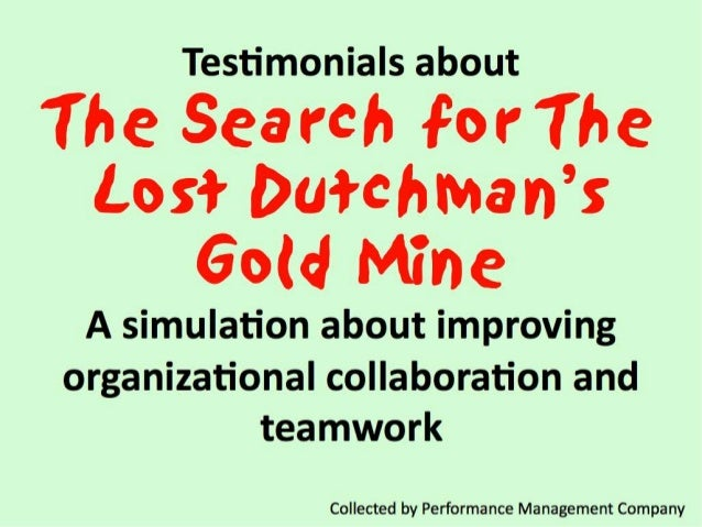 I have been running the Dutchman game for 19 years now and it has never failed to impact leaders and demonstrate many key ...