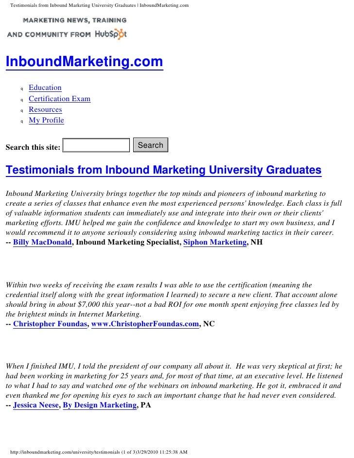 Testimonials from Inbound Marketing University Graduates | InboundMarketing.com     InboundMarketing.com      q   Educatio...