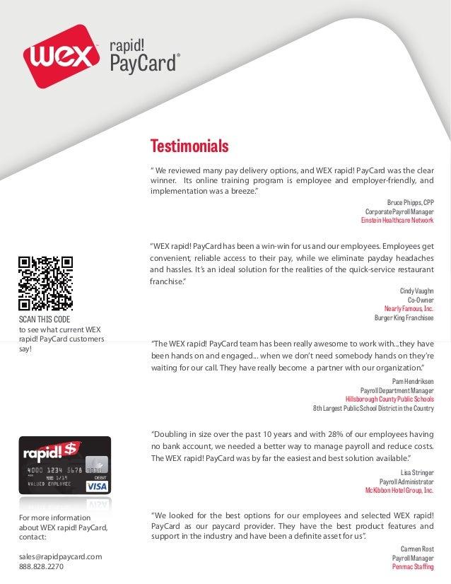 WEX rapid! PayCard client testimonials 10/1/2013