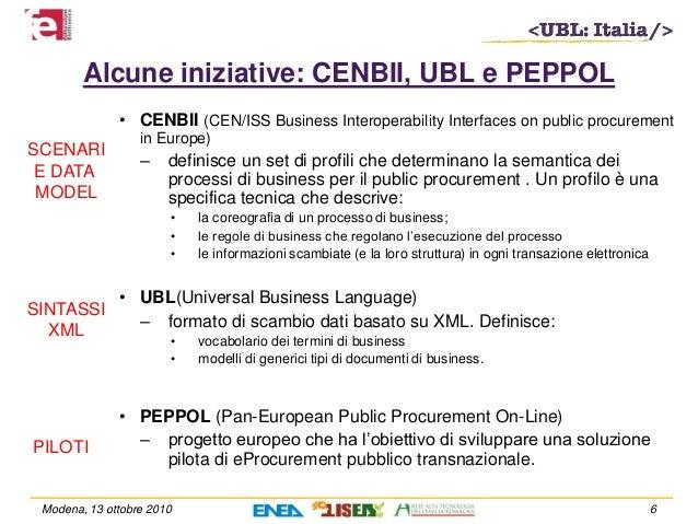 Alcune iniziative: CENBII, UBL e PEPPOL • CENBII (CEN/ISS Business Interoperability Interfaces on public procurement in Eu...