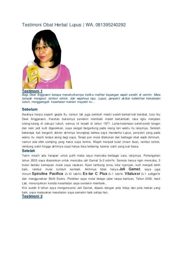 Testimoni Obat Herbal Lupus | WA. 081395240292 Testimoni 1 Bagi Dewi Anggraeni betapa menakutkannya ketika melihat bayanga...