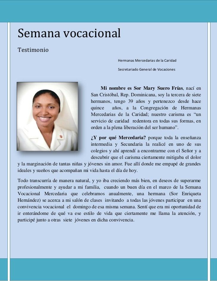 Semana vocacionalTestimonio                                                 Hermanas Mercedarias de la Caridad            ...