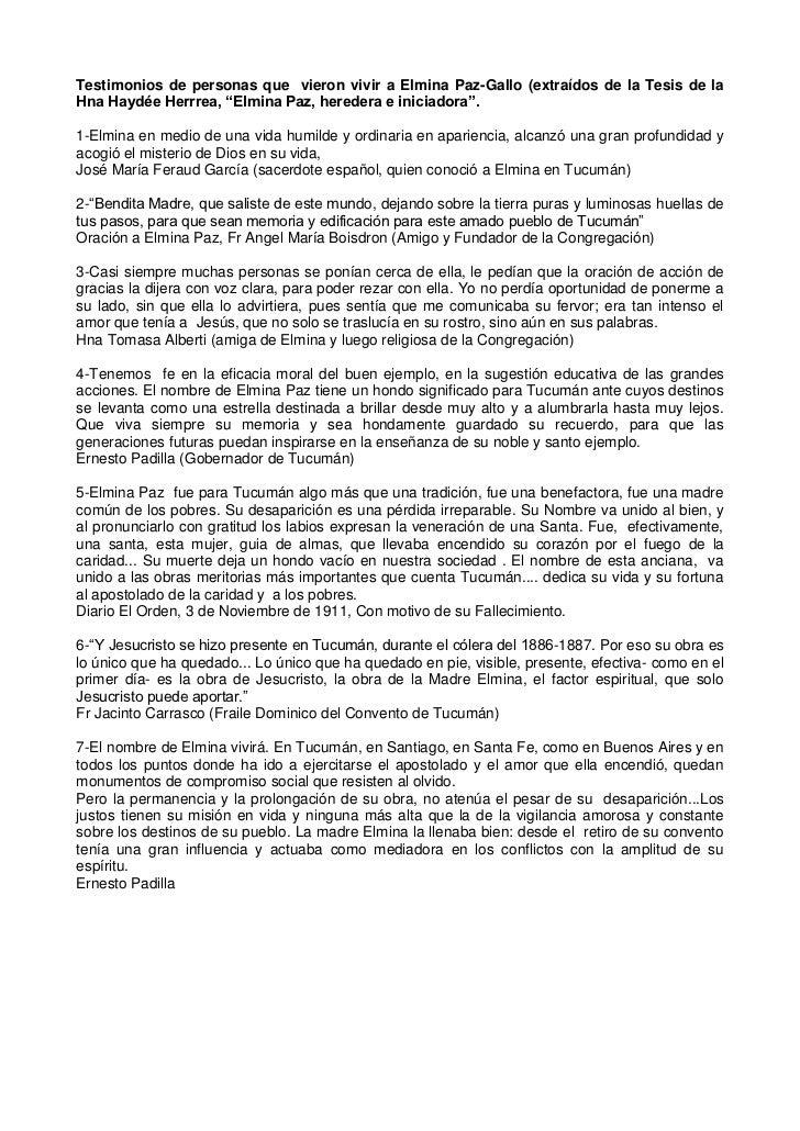 "Testimonios de personas que  vieron vivir a Elmina Paz-Gallo (extraídos de la Tesis de la Hna Haydée Herrrea, ""Elmina Paz,..."