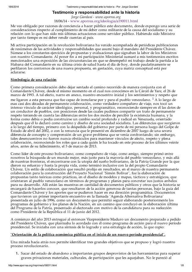 Testimonio y Responsabilidad, La Carta de Jorge Giordani