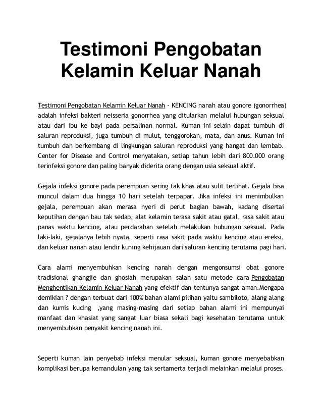 Testimoni Pengobatan Kelamin Keluar Nanah Testimoni Pengobatan Kelamin Keluar Nanah - KENCING nanah atau gonore (gonorrhea...