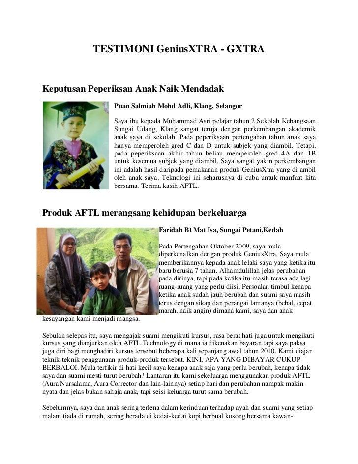 TESTIMONI GeniusXTRA - GXTRAKeputusan Peperiksan Anak Naik Mendadak                         Puan Salmiah Mohd Adli, Klang,...