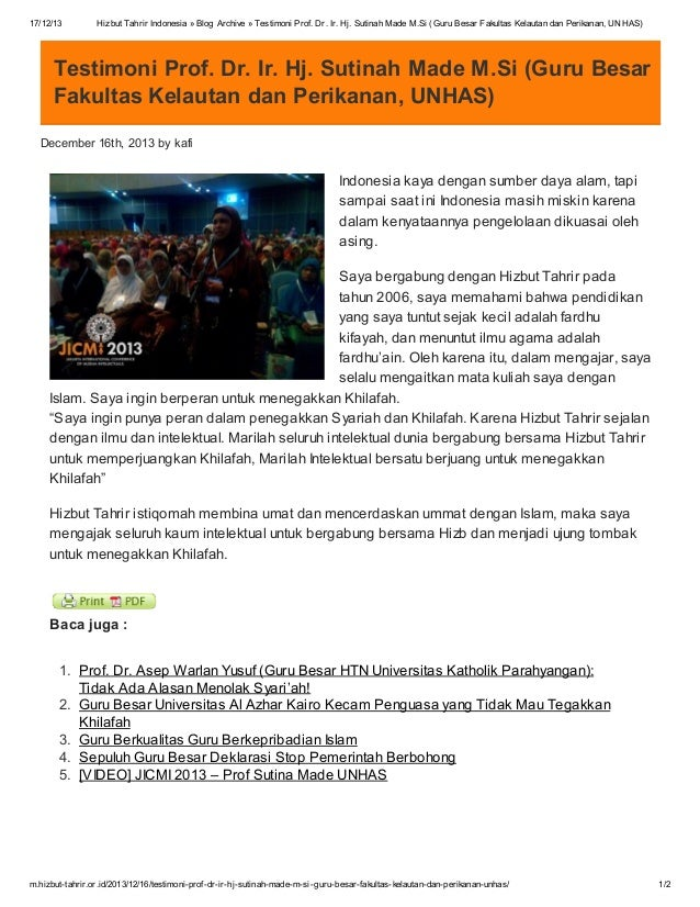 17/12/13  Hizbut Tahrir Indonesia » Blog Archive » Testimoni Prof. Dr. Ir. Hj. Sutinah Made M.Si (Guru Besar Fakultas Kela...