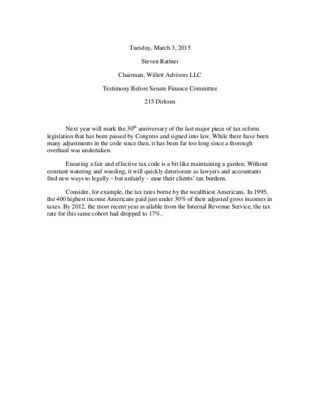 Tuesday, March 3, 2015 Steven Rattner Chairman, Willett Advisors LLC Testimony Before Senate Finance Committee 215 Dirksen...