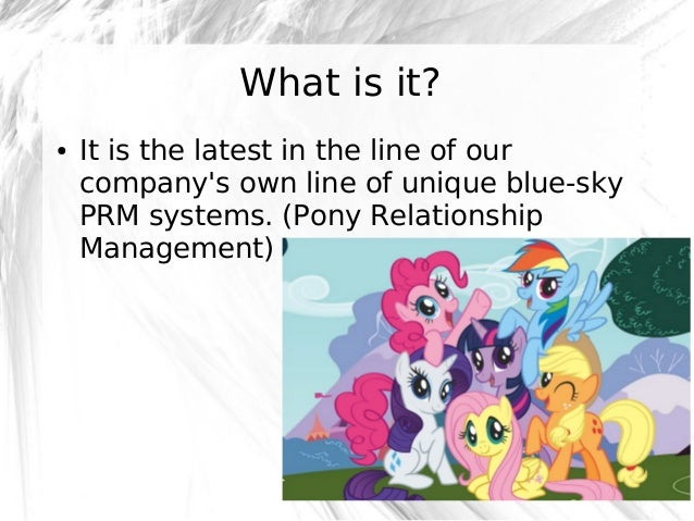 What is it? ●  It is the latest in the line of our company's own line of unique blue-sky PRM systems. (Pony Relationship M...