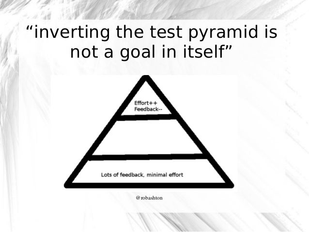 """""""inverting the test pyramid is not a goal in itself""""  @robashton"""