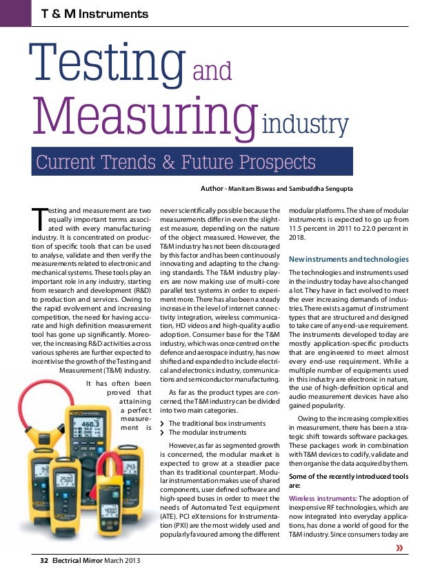 32  Electrical Mirror March 2013 T & M Instruments Testing Measuring and industry Current Trends & Future Prospects Author...