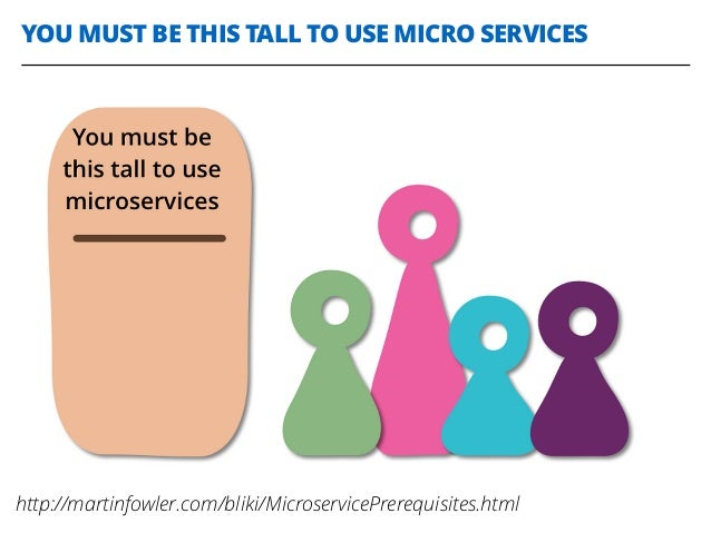 YOU MUST BE THIS TALL TO USE MICRO SERVICES http://martinfowler.com/bliki/MicroservicePrerequisites.html