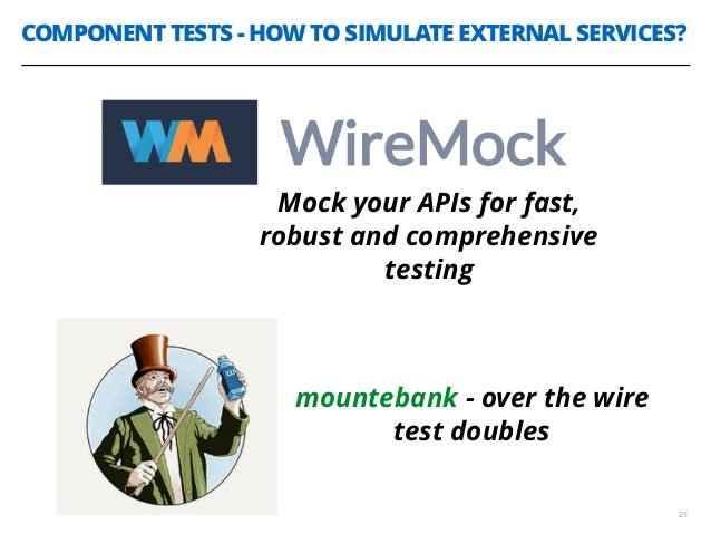 COMPONENT TESTS - HOW TO SIMULATE EXTERNAL SERVICES? 25 Mock your APIs for fast, robust and comprehensive testing mounteba...