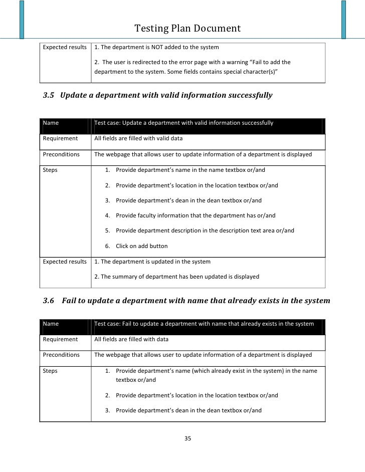 Testing Plan Template Testing Plan Test Case Testing Plan Template