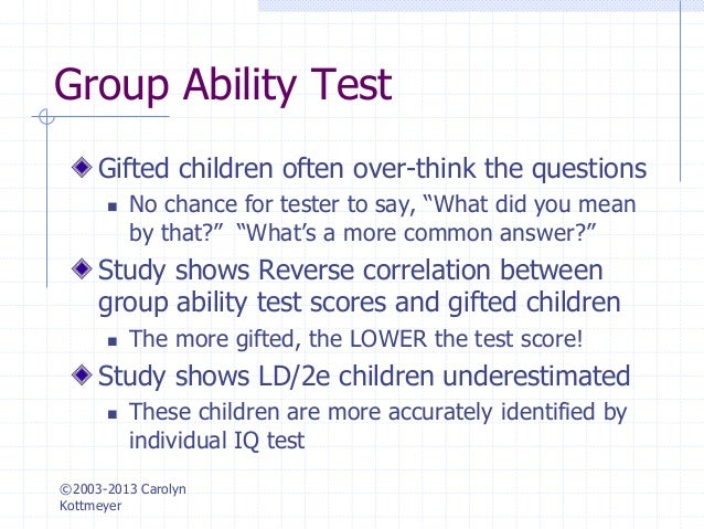 Hoagies Gifted Testing And Assessment Of The Gifted