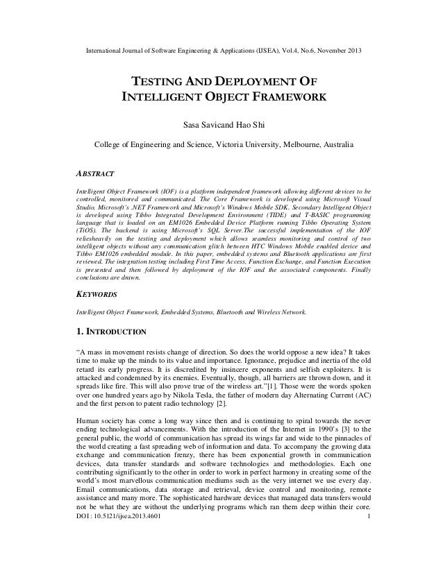 International Journal of Software Engineering & Applications (IJSEA), Vol.4, No.6, November 2013  TESTING AND DEPLOYMENT O...