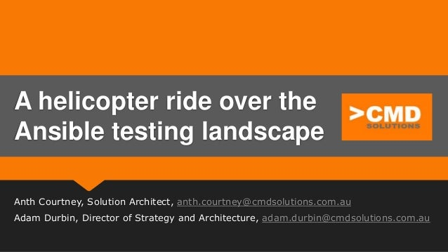 Anth Courtney, Solution Architect, anth.courtney@cmdsolutions.com.au Adam Durbin, Director of Strategy and Architecture, a...