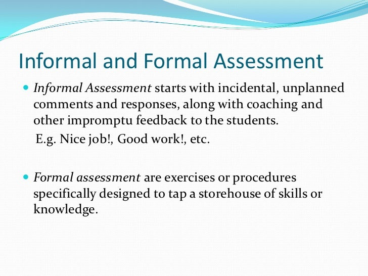 ... Assessment Referenced Tests; 11. Informal And Formal ...