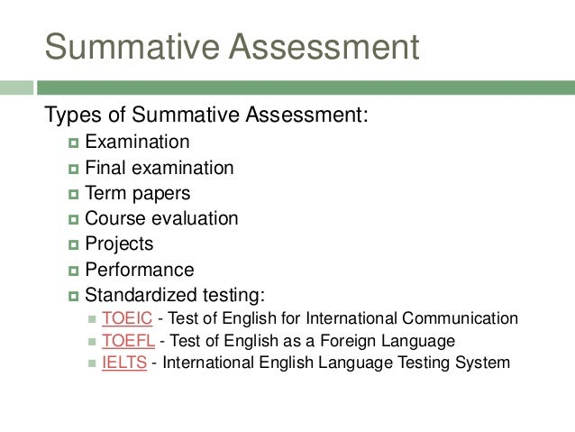 Example Of Summative Assessment - Ex