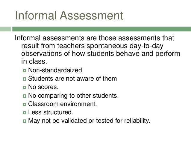 Informal Assessments A to Z: A list of Ideas