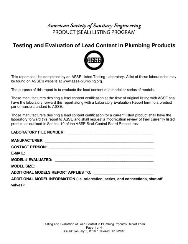 American Society of Sanitary Engineering                        PRODUCT (SEAL) LISTING PROGRAMTesting and Evaluation of Le...