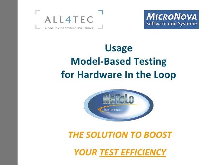 Testing Expo Stuttgart 2010   All4 Tec   Model Based Testing For Hardware In The Loop