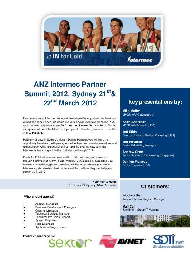 ANZ Intermec Partner Summit 2012, Sydney 21st&     22nd March 2012                                                        ...