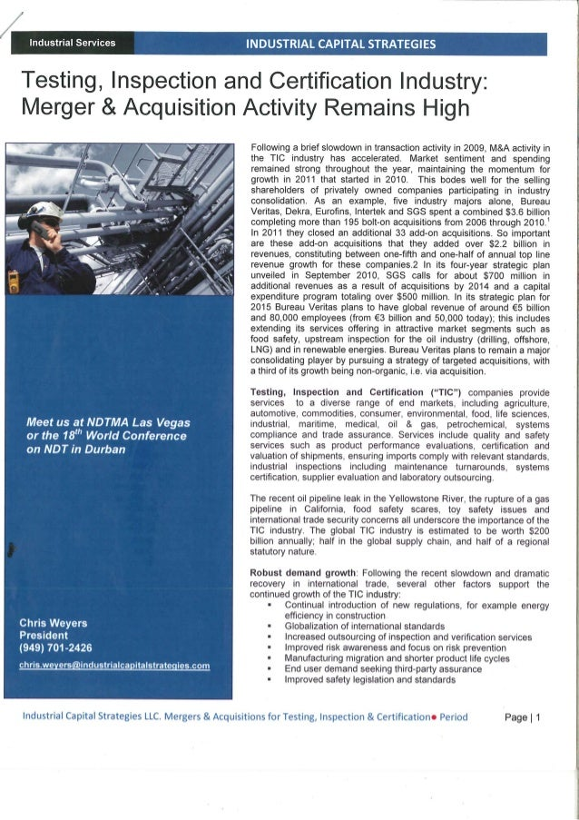 Industrial Services  INDUSTRIAL CAPITAL STRATEGIES     Testing,  Inspection and Certification Industry:  Merger & Acquisit...