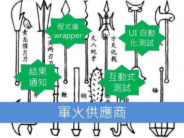 軍火供應商 結果 通知 程式庫 wrapper 互動式 測試 UI 自動 化測試 11