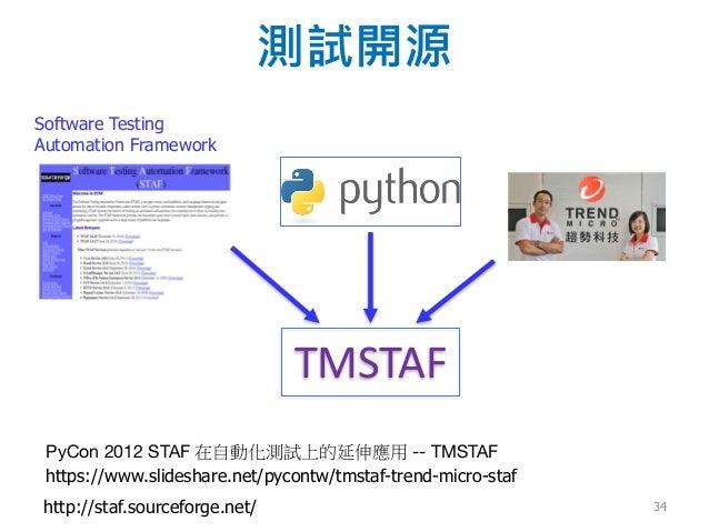 測試開源 http://staf.sourceforge.net/ https://www.slideshare.net/pycontw/tmstaf-trend-micro-staf TMSTAF Software Testing Autom...