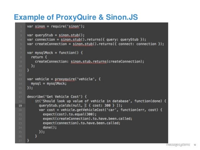 12 Example of ProxyQuire & Sinon.JS