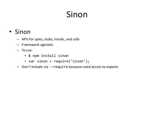 Testing NodeJS with Mocha, Should, Sinon, and JSCoverage