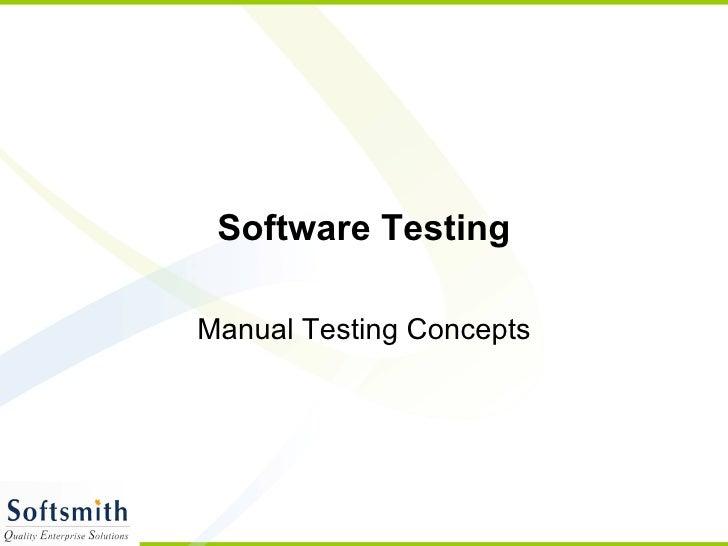 Software Testing Manual Testing Concepts