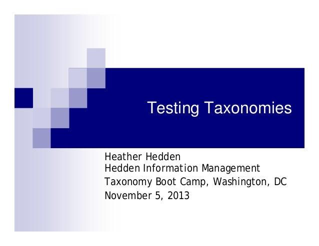 Testing Taxonomies Heather Hedden Hedden Information Management Taxonomy Boot Camp, Washington, DC November 5, 2013