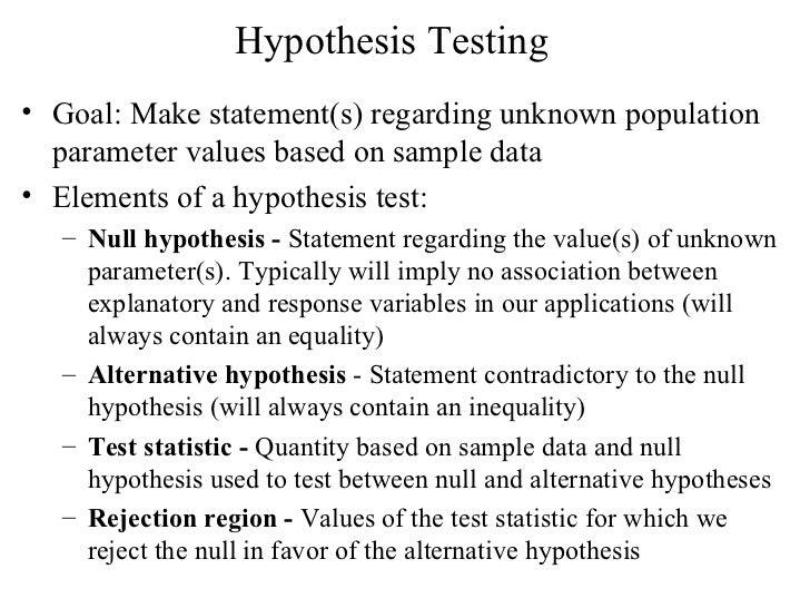 Hypothesis Testing <ul><li>Goal: Make statement(s) regarding unknown population parameter values based on sample data </li...