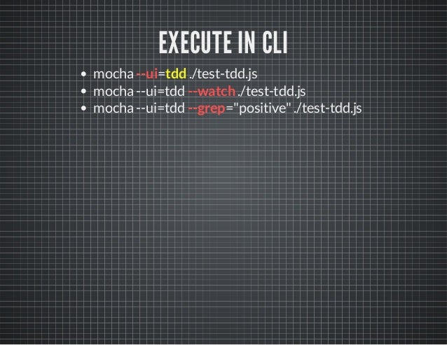 """EXECUTE IN CLI  mocha --ui=tdd ./test-tdd.js  mocha --ui=tdd --watch ./test-tdd.js  mocha --ui=tdd --grep=""""positive"""" ./tes..."""