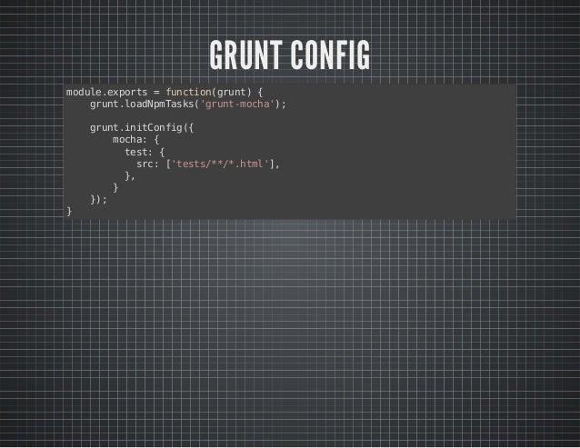 GULP CONFIG  var gulp = require('gulp');  var mocha = require('gulp-mocha');  gulp.task('default', function () {  return g...