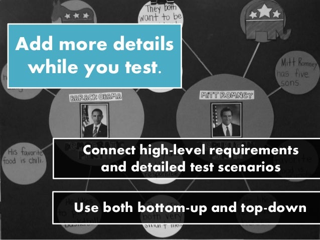 Add more details while you test. Connect high-level requirements and detailed test scenarios Use both bottom-up and top-do...