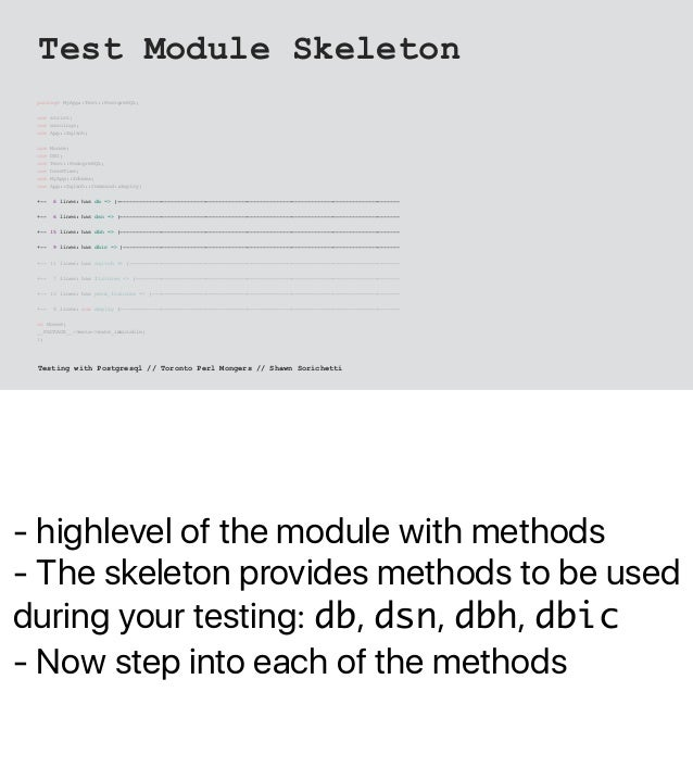 - highlevel of the module with methods - The skeleton provides methods to be used during your testing: db, dsn, dbh, dbic ...