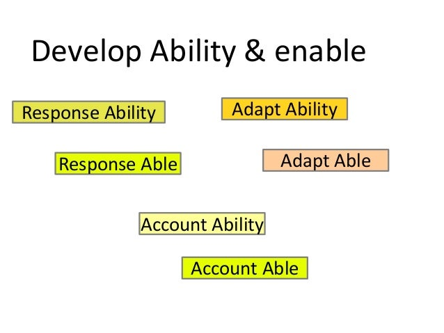 Develop Ability & enable Response Ability Response Able Adapt Able Adapt Ability Account Ability Account Able