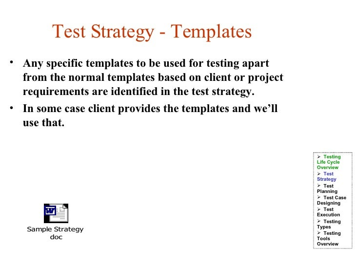 Test life cycle for Test automation strategy document template
