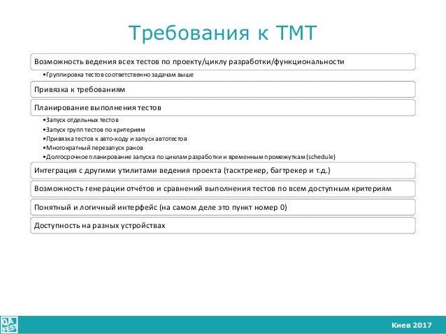 Киев 2017 Требования к ТМТ Возможность ведения всех тестов по проекту/циклу разработки/функциональности •Группировка тесто...
