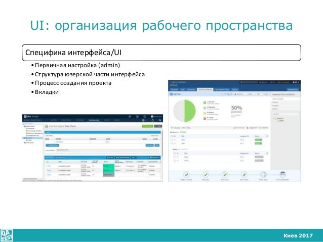 Киев 2017 UI: организация рабочего пространства Специфика интерфейса/UI •Первичная настройка (admin) •Структура юзерской ч...