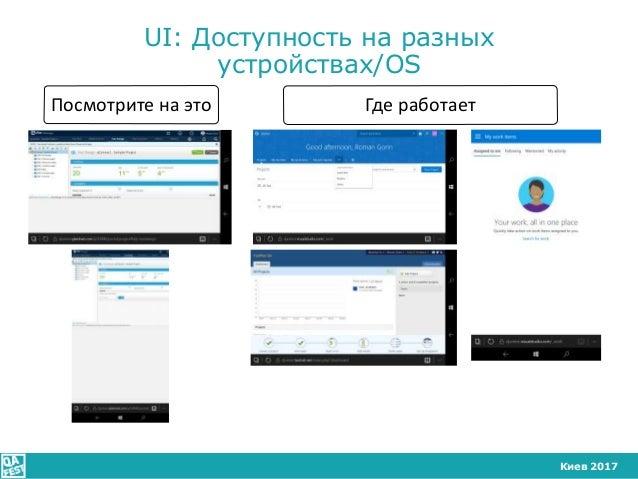 Киев 2017 UI: Доступность на разных устройствах/OS Посмотрите на это Где работает